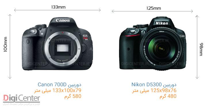 مقایسه مشخصات فیزیکی Canon 700D با Nikon D5300