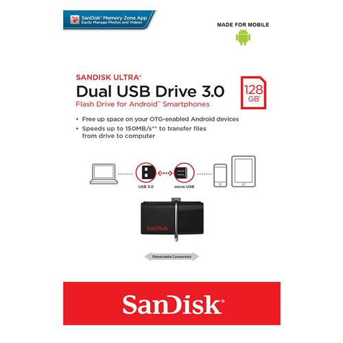 فلش مموری سن دیسک مدل Ultra Dual USB Drive 3.0 ظرفیت 128 گیگابایت 1